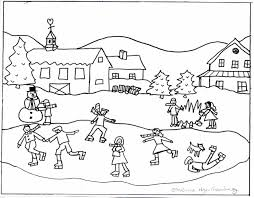 winter landscape coloring pages fleagorcom