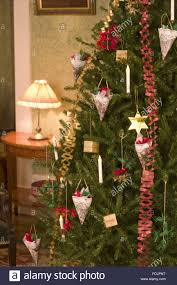 traditional victorian christmas decorations made of fir cones on