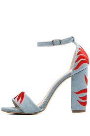 light blue womens dress shoes light blue denim embroidered open toe ankle strap chunky heels