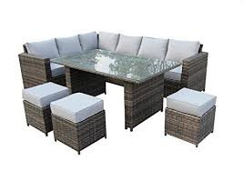 Grey Rattan Outdoor Furniture by Yakoe Conservatory Classical Range 9 Seater Rattan Garden