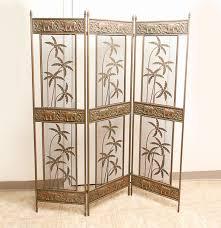 Panel Room Divider Palm And Elephant Motif Brass Tone Three Panel Room Divider Ebth