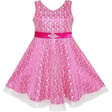 sunny fashion flower girls dress lace sparkling diamond wedding