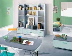decoration studio bedroom cool deep blue kids room design with natural wooden bunk