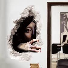 halloween 3d wall sticker horror girlghost wall decal for living room