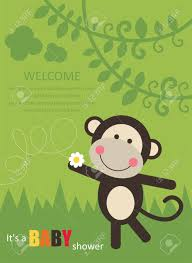 baby shower card with cute monkey vector illustration royalty