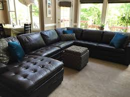 Black Leather Sectional Sofa Furniture Cool Brown Leather Sectional Sofa By Havertys Sofa For