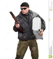 happy halloween party city dangerous gangster with shotgun royalty free stock photography