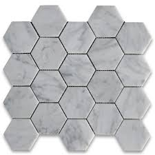 carrara white 3 inch hexagon mosaic tile polished master bath