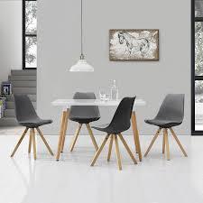essgruppe küche en casa esstisch mit 4 stühlen grau gepolstert 120x80cm