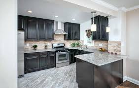 cherry cabinets with light granite countertops light granite countertops contemporary l shaped kitchen with dark