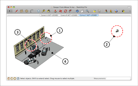 placing movie cameras in a model of a production set sketchup