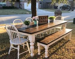 farmhouse table and chairs with bench farmhouse tables islands and decor by farm2table on etsy