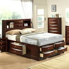 King Size Platform Bed With Storage Drawers Bookcase Cherry 6 Drawer King Size Platform Storage Bed