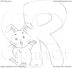 clipart outlined r is for rabbit coloring page royalty free