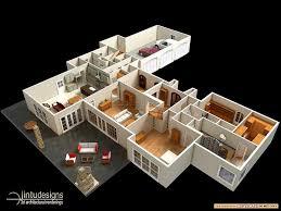 25 more 3 bedroom 3d floor plans bungalow house bed luxihome