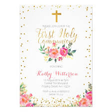 floral girl holy communion invitation zazzle