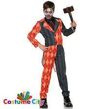 Evil Clown Halloween Costume Childs Boys Evil Clown Tuxedo Jester Suit Halloween Fancy Dress
