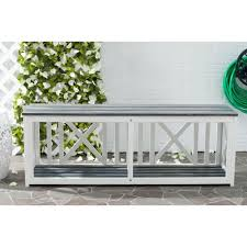 Wooden Patio Bench by Safavieh Branco White Patio Bench With Ash Gray Seat Fox6706a