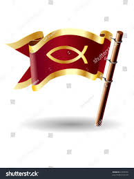 Christian Flag Images Christian Fish Symbol On Red Royal Stock Vector 27039358