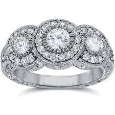 3 4ct pave halo blue sale 1 50ct vintage diamond engagement ring 3 stone antique bezel