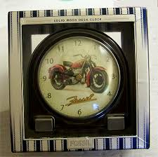 Wood Desk Clock Fossil Motorcycle Wooden Desk Clock Vintage Collectible