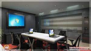 black white orange wall color for modern office meeting interior