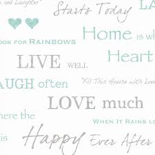 Live Love Laugh Home Decor Fine Decor Wall Words Live Love Laugh Wallpaper White Grey Teal