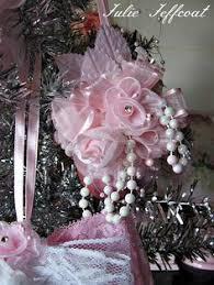 handmade christmas tree ornament pink satin ball organza bows and