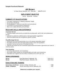 Resume Template For Bartender Sle Functional And Summary Of Qualifications And Relevant Skill