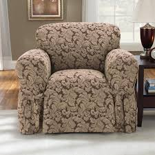 sure fit chair slipcover sure fit scroll brown chair slipcover walmart com
