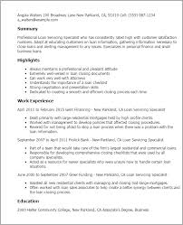 loan document specialist sample resume professional document