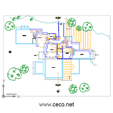free autocad floor plans fallingwater house second floor in architecture ceco net free