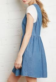 forever 21 cutout back denim dress in blue lyst