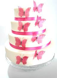 12 pink stick on butterflies wedding cake toppers butterfly