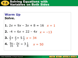 Multi Equations With Variables On Both Sides Worksheet Solving Equations With Variables On Both Sides 7 3 Warm Up Warm Up