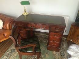 Office Desk Leather Top Mahogany Green Leather Top Writing Desk Chesterfield Captains