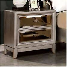 Silver Mirrored Nightstand Mirrored Bedside Table Ebay
