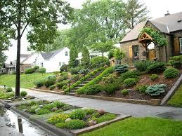 Landscaping Ideas For Sloped Backyard Backyard Steep Backyard Solutions Upward Sloping Front Yard