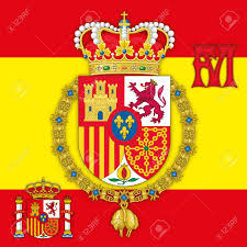 Spanish Empire Flag Spain Coat Of Arms Of King Of Spain With Flag U0026 Monogram Royalty