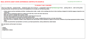 Sample Resume For Real Estate Agent by Real Estate Agent Work Experience Certificate