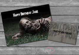 personalised the walking dead zombie birthday valentines card a5
