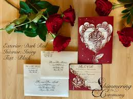 Laser Cut Invitation Cards Beauty And The Beast Inspired Rose Gatefold Laser Cut Invitation