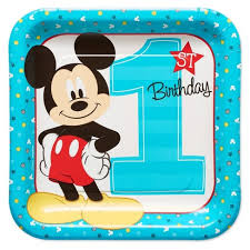 mickey mouse 1st birthday 8ct mickey mouse 1st birthday square dinner plates target