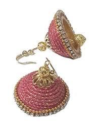 fancy jhumka earrings soundarya lahari golden pink fancy thread jhumka earrings at