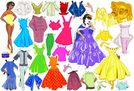 princess colour effects paper dolls paper toys