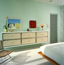 Midcentury Modern Wallpaper - decorating a dresser bedroom contemporary with chest of drawers