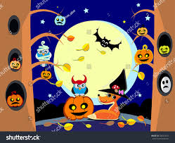 vector halloween halloween night forest vector illustration cute stock vector