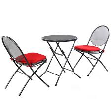 Patio Table And Chair Set 3 Pcs Folding Mesh Outdoor Patio Seat Outdoor Furniture Sets
