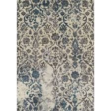 Peacock Area Rugs Platinum Collection Grey Ivory Peacock Distressed Damask