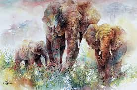 elephants watercolor olympus digital
